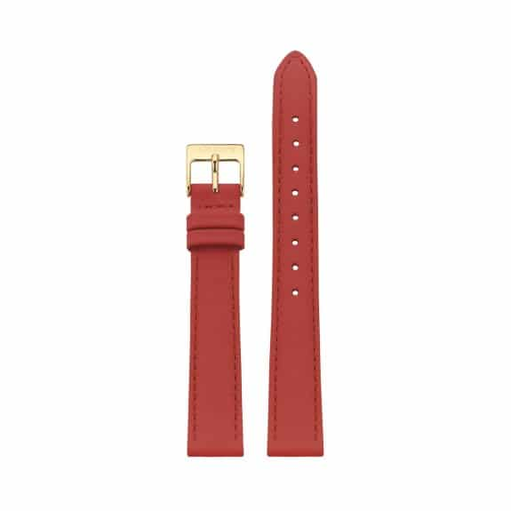 Red leather strap - Gold / 14mm  - 1