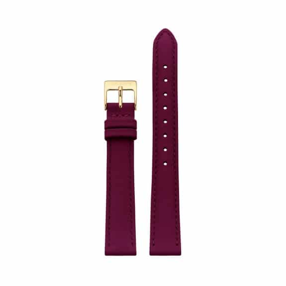 Raspberry leather strap - Gold / 14mm  - 1