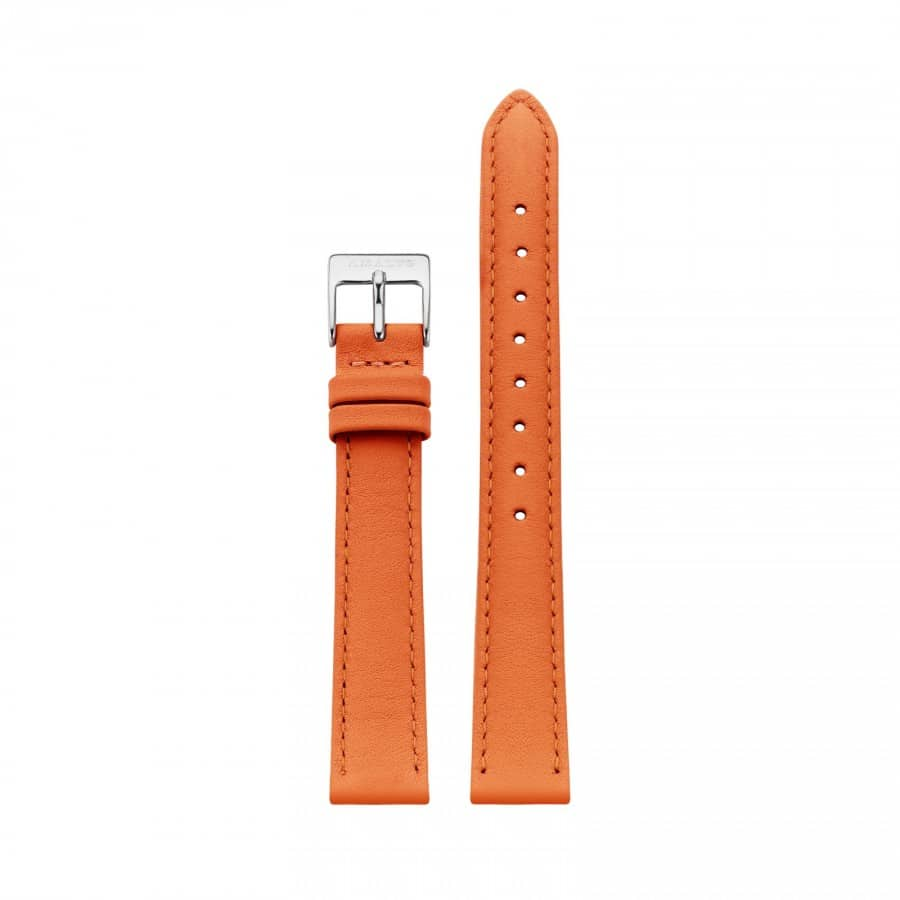 Orange leather strap - Silver / 14mm  - 1