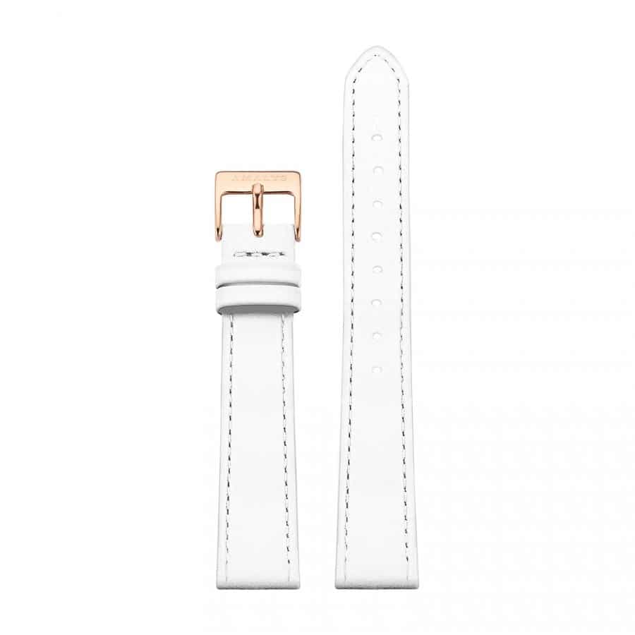 White leather strap - Rose gold / 16mm  - 1