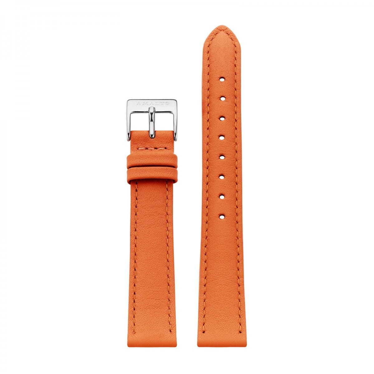 Orange leather strap - Silver / 16mm  - 1
