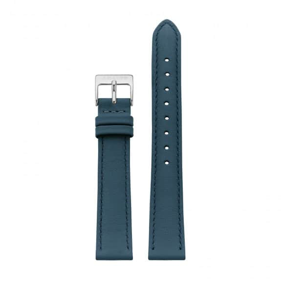 Petrol blue leather - Silver / 16mm  - 1