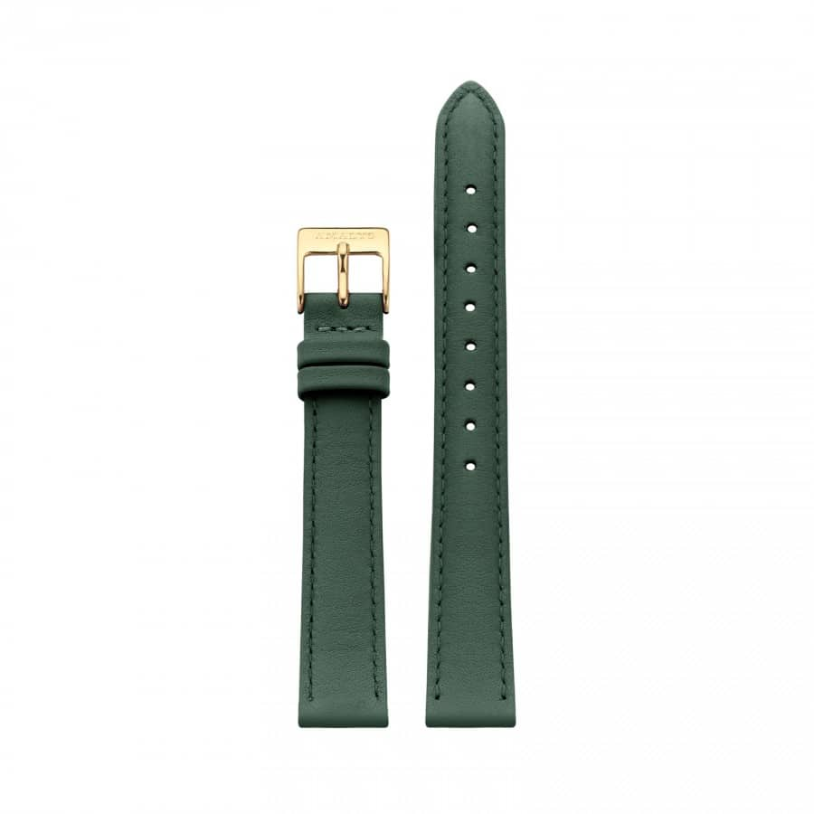 Forest green leather strap - Gold / 16mm  - 1
