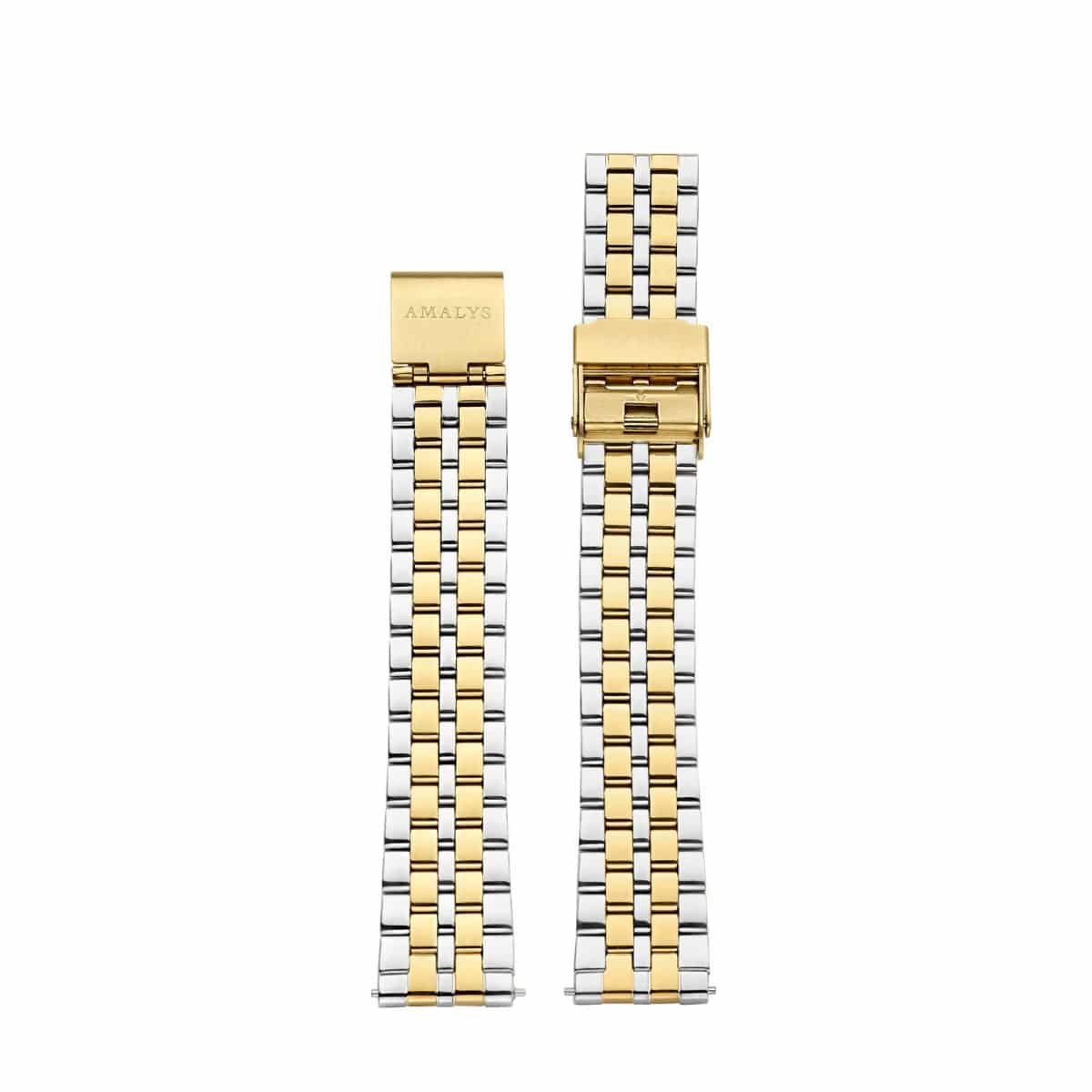 Silver and  gold steel folded link strap / 16mm  - 1