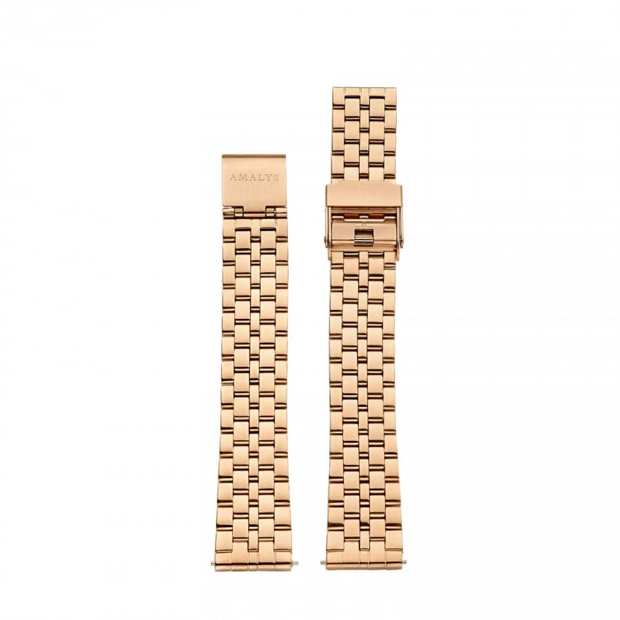 Rose gold steel folded link strap / 16mm  - 1