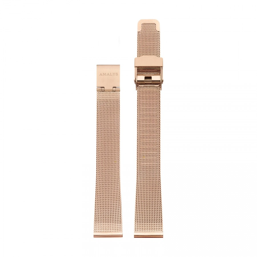 Rose gold mesh strap / 14mm  - 1